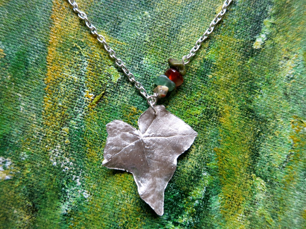 Silver clay paste ivy leaf pendant by Perfidious Jewellery
