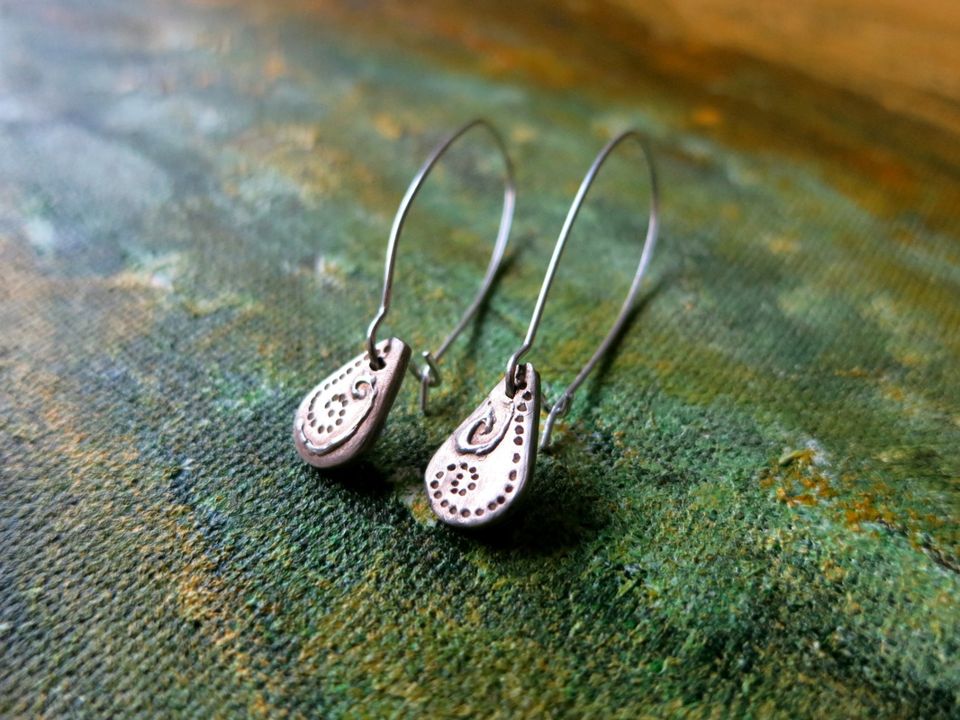 Silver clay hand decorated drop earrings by Perfidious Jewellery